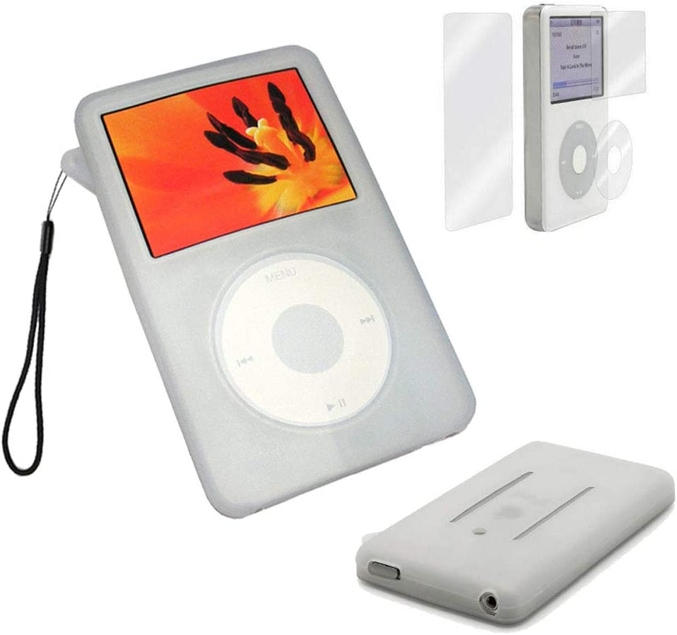 BestforYou iPod Classic Case,Silicone Skin Case Cover for Apple iPod Classic 80GB, 120GB & Latest 6th Generation 160gb launched Sept 09 + Screen Protector & Lanyard (White)