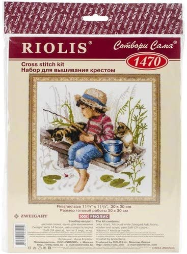 Counted Cross Stitch Kit 12 x 12 14 Count White AIDA 24 Colors RIOLIS 1470 Lets Go Fishing