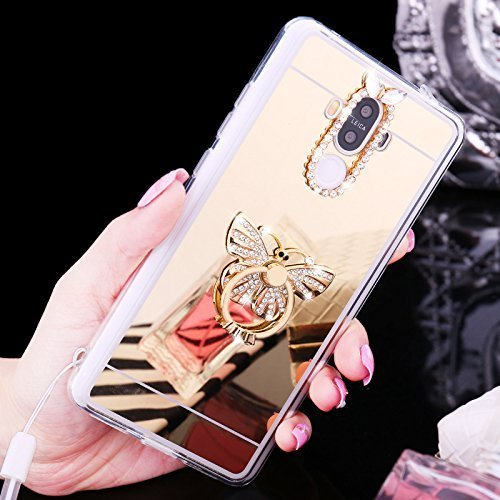 EUWLY Samsung Galaxy S4 Case,Samsung Galaxy S4 Mirror Case,Samsung Galaxy S4 Soft Gel TPU Rubber Bumper Mirror Silicone Case cover with Built-in Rotation Grip Ring Kickstand Anti-Shock Anti-Scratch Ul Butterfly,Gold