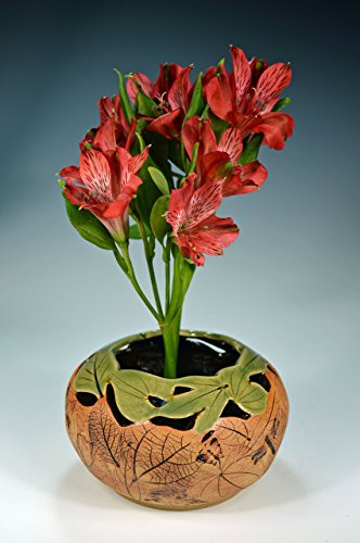 Ikebana Style Cutout Leaf Vase Handmade Stoneware Clay Pottery w/Dragonfly Impressions (Pottery Impressions)