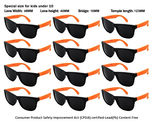 Edge I-Wear 12 Pack Neon Party Sunglasses with UV 400 Lens (Made in Taiwan) - Cheap Orange Sunglasses
