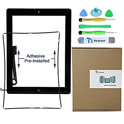 Teseko Digitizer Touch Screen Replacement for ipad 3 Black-Includes Home Button and Camera Holder with tools (Touch Ipad A1416)