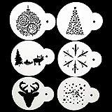 SOPHISTICATE 6Pcs/Set Christmas Tree Coffee Milk Cake Cupcake Stencil Template Mold Coffee Barista Cappuccino Template Strew Spray P0143: P0185