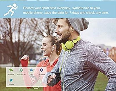 Kobwa IP67 Waterproof Pedometer Heart Rate Monitor Fitness Tracker Watch,Wireless Smart Bluetooth Sport Activity Tracker Smartband Wristband Bracelet with Sleep Testing Calls Vibration Remind(Purple)