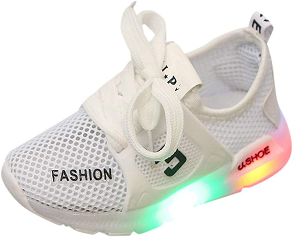 ❤️Rolayllove❤️ 15M-6Y Kids Boys Athletic Sneaker Toddler Infant Kids Baby Girls Mesh Breathable LED Luminous Sport Running Walker Shoes
