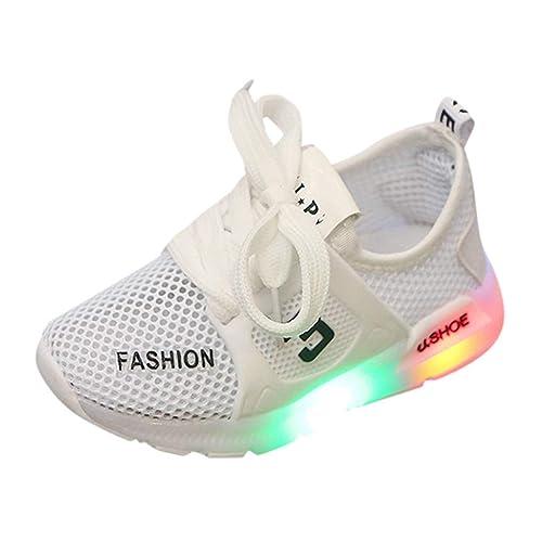 YWLINK Ocio Y Confort NiñOs NiñOs Y NiñAs Malla Transpirable Luces LED Zapatos Zapatillas De Deporte