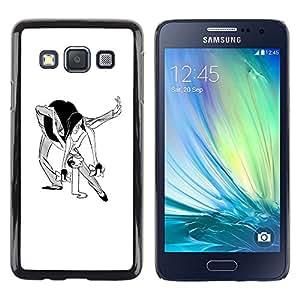 Be Good Phone Accessory // Dura Cáscara cubierta Protectora Caso Carcasa Funda de Protección para Samsung Galaxy A3 SM-A300 // Dance Man Woman Caricature Funny Art