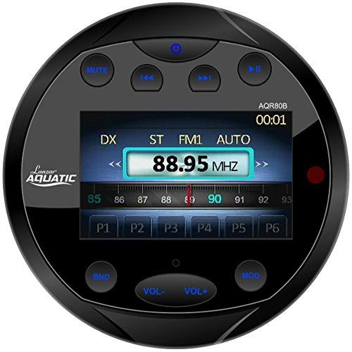 Lanzar Waterproof Marine Stereo Receiver - 4x28 W Round Boat In-Dash Radio Receiver System w/Bluetooth, AM FM, Digital LCD, USB, RCA, AV IN -Includes Wiring Harness, Bracket, Remote - AQR80B (BLACK)
