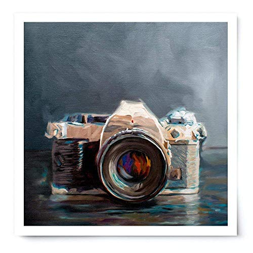 Vintage Film Camera - Artist Signed Oil Painting Giclée Print Modern Home Office Wall Art Decor - Variety of Sizes ()