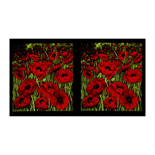 (Clothworks Poppy Poetry 24'' Panel Red)