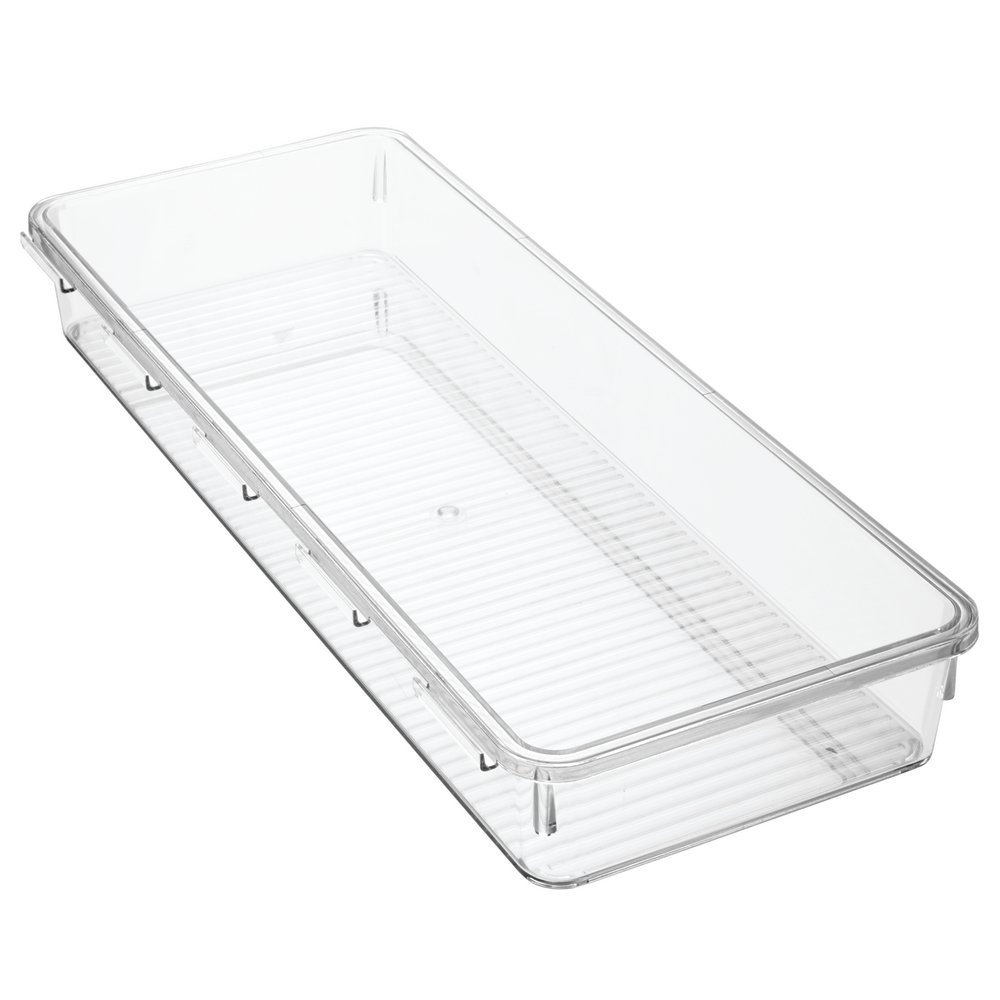 InterDesign Linus Interlocking Drawer Organizer for Kitchen, Office, Bathroom Vanities-Extra Large, Clear Inc. 76930