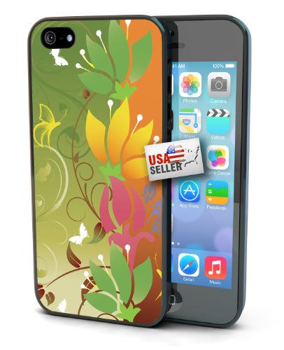 Green and Orange Flowers Design Black Plastic Cover Case for iPhone 4 or 4s