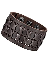 Brown Alloy Genuine Leather Bracelet Bangle Cuff Adjustable