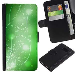 LASTONE PHONE CASE / Lujo Billetera de Cuero Caso del tirón Titular de la tarjeta Flip Carcasa Funda para Samsung Galaxy S6 SM-G920 / Nature Beautiful Forrest Green 36