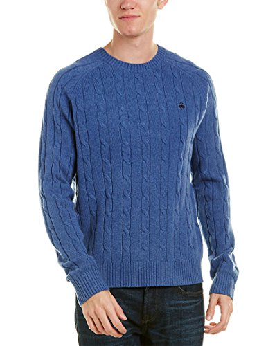 Brooks Brothers Men's Merino Wool Cable Knit Crew Neck Sweater (X-Large, Medium Blue Heather) ()