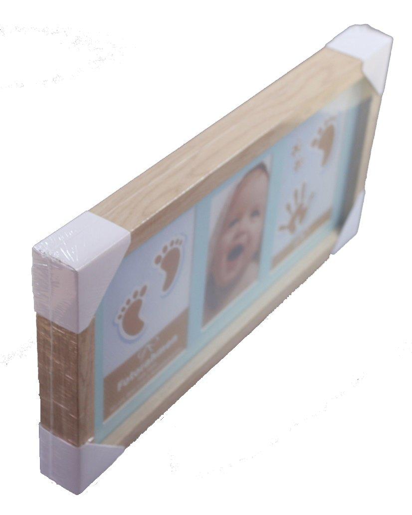 Blau Fotorahmen mit 2 Knetabdr/ücken Handabdruck Fu/ßabdruck mit Holzrahmen 40x20x3,5cm