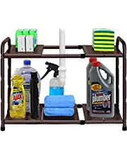 SimpleHouseware Under Sink 2 Tier Expandable Shelf Organizer Rack (Expand from 38 to 63.5 cm)