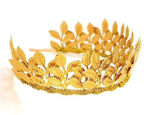 Bridal Hair Crown Headband Vintage Gold Tiara with Adjustable Multi Leaf Branch - Goddess Dainty Wedding -