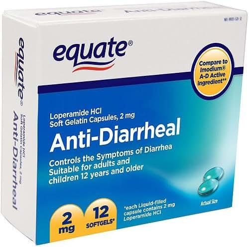 Equate - Anti-Diarrheal, Loperamide 2 mg, 12 Softgels (Compare to Imodium)