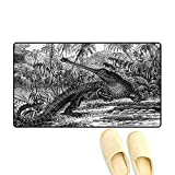 Bath Mat,Old Fashion Sketch of A Crocodile in Forest Wildlife Nature Woods Fossil Picture,Door Mat Indoors Bathroom Mats Non Slip,Charcoal Grey,24'x36'
