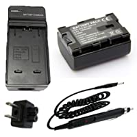 Battery + Charger for JVC Everio GZ-E200AU, GZ-E200BU, GZ-E200RU Full HD Camcorder