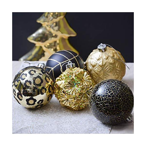 Valery Madelyn Palle di Natale 16 Pezzi 8 cm Palline di Natale, Festa Tropicale Dorata Ornamenti di Palla di Natale Infrangibili Neri e Dorati per la Decorazione Dell'Albero di Natale 5 spesavip