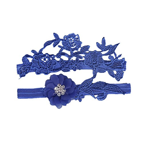 FREEDTIME Wedding Lace Garter Set Tradition Vintage For Bridal And Bridesmaid,Royal Blue