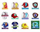 Baby Monthly Stickers | Baby Registry Shower Gift | Newborn Boys Girls | Baseball Set of 16