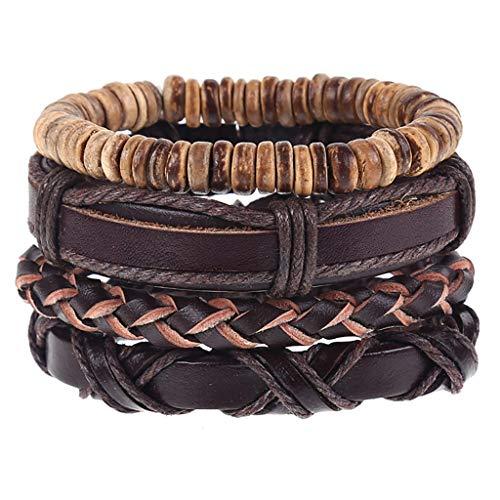 - CCFAMILY Men Vintage Bracelet Braided Simple Leather Bracelet Multilayer Bracelet