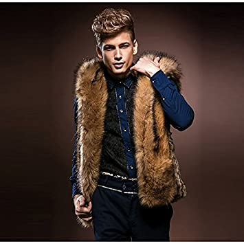 3529e226f3 Lemumu Men's Cardigan Street Chic Solid Hooded Sleeveless Autumn and Winter Fur  Coat Brown Faux Fur