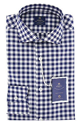 Luigi Borrelli New Blue Plaid Extra Slim Shirt