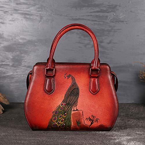 Brown2 Red Cuir Pour Main Animal Sac Main Peinte Carré La Rétro color Petit Femme À Gros En Baachang qaSgw