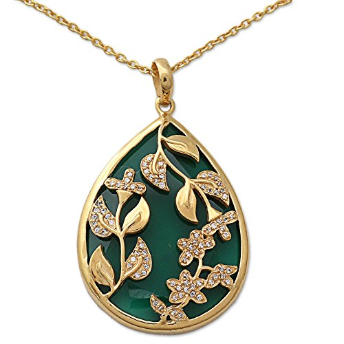 NOVICA Multi-Gem Onyx 18k Gold Vermeil .925 Sterling Silver Pendant Necklace 'Green Royal Glamour'