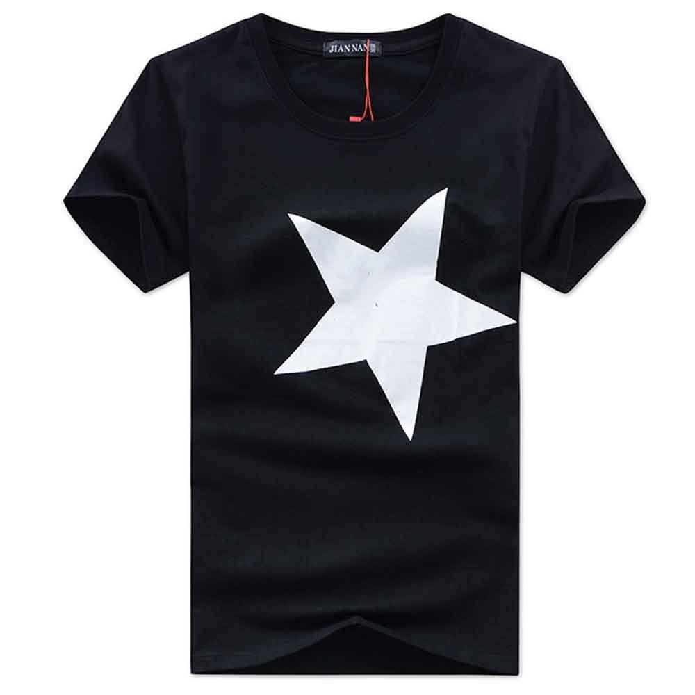 3443f0766 Amazon.com  Mens T Shirts Graphic Men Fashion Cotton Shirts Star Print Short  Sleeve T-Shirt Casual Tees Blouse Tank Tops Beach T Shirts  Clothing