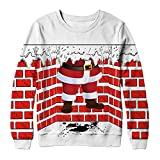 WOCACHI Final Clear Out Christmas Couples Plus Size 3D Pullover Xmas Sweatshirt Long Sleeve Tops Black Friday Cyber Monday Winter Bottoming Shirt Santa Claus Reindeer Crew Neck (Red, Medium)