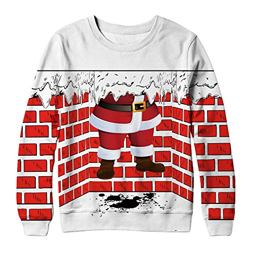(Simayixx Sweatshirts for Women Funny Snowflake Print Ugly Christmas Sweater Pullover Jumper Plus)