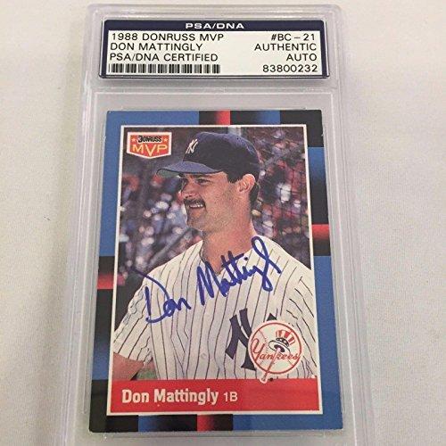1988 Donruss MVP Don Mattingly Signed Autographed Baseball Card COA - PSA/DNA Certified - Baseball Slabbed Autographed (1988 Donruss Mlb Card)