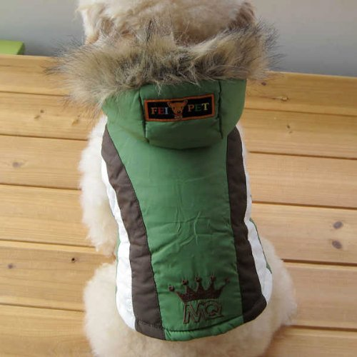 Pet Fashion Accessory Adorable Dog Clothing Snow Jacket Hoodie Polyester Cotton GREEN-Size 7