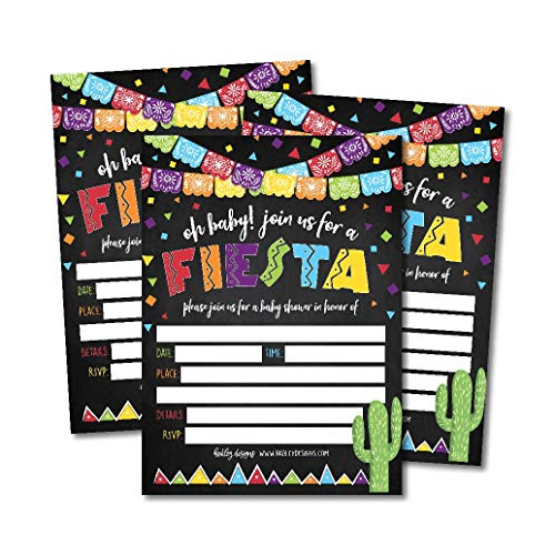 (25 Fiesta Baby Shower Invitations, Sprinkle Invite for boy or girl, Spanish Mexican Theme Gender Neutral Reveal, Cute Printed Fill or Write In Blank Printable Card Coed Twin Party Stock)