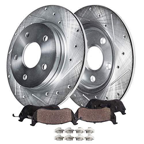 Detroit Axle - Pair (2) Rear Drilled and Slotted Disc Brake Rotors w/Ceramic Pads w/Hardware for 2013 2014 2015 2016 2017 2018 Ford Fusion - [2013-2017 Lincoln MKZ Hybrid] - 302mm Rotors