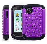 lg 305c phone case - LG 306G Case / LG 305C Case, Nagebee LG 306G 305C Diamond Studded Hybrid Silicone Rubber Skin Hard Case Cover for LG 306G 305C (Diamond Purple)