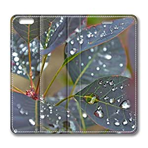iPhone 6 Leather Case, Personalized Protective Flip Case Cover Wet Leaves Close Up for New iPhone 6 by Maris's Diary