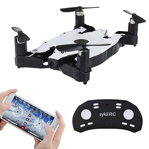 sykii RC Mini Drone H49 Selfie Drone FPV Wifi Altitude Hold Auto Foldable 2.4G 4-Channel 6Axis with HD 720P Camera Headless Mode Ultrathin RC Quadcopter RTF - White