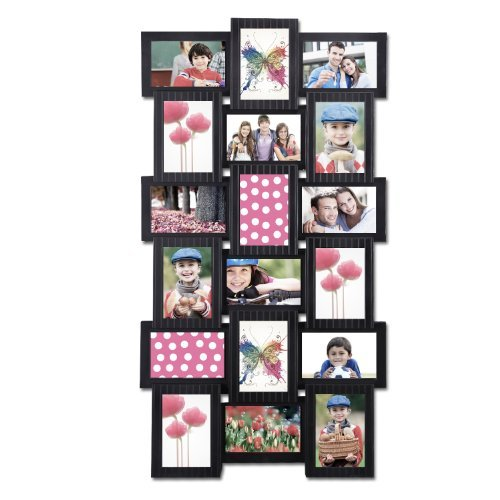 Adeco Decorative Black Polyresin Wall Hanging Collage Picture Photo Frame, 4 x 6-Inch by Adeco