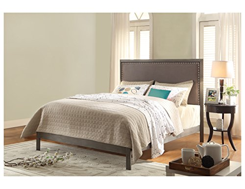 Normandy Platform Bed with Metal Frame and Steel Gray Upholstered (Upholstered Sleigh)
