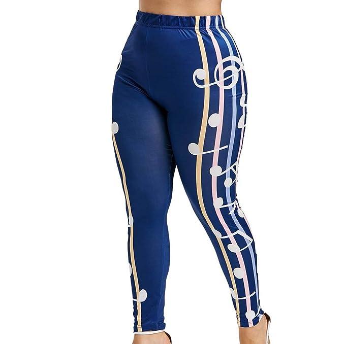 Women High Waist Yoga Pants Plus Size Musical Notes Print ...
