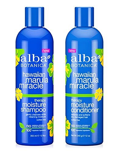 (Alba Botanica Hawaiian Marula Miracle Therapy Shampoo and Conditioner Bundle, 12 Ounces Each)