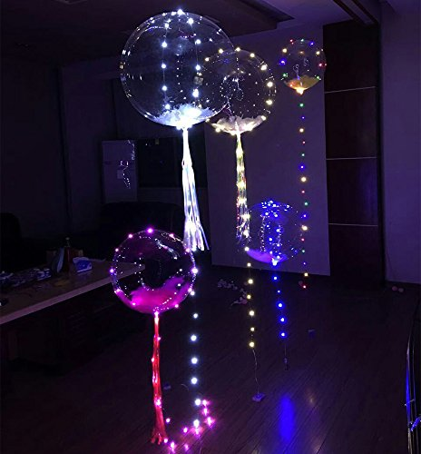 ElementDigital LED Balloon Light Up Transparent Balloons LED Multi Light for Christmas Birthday Cub Wedding and Party Battery 18 inch 10 pcs by ElementDigital (Image #3)