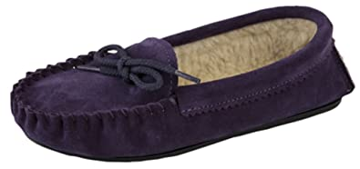 Ladies Real Suede Moccasin Slippers with warm faux fur Lining and Hardwearing  Sole PURPLE size 3