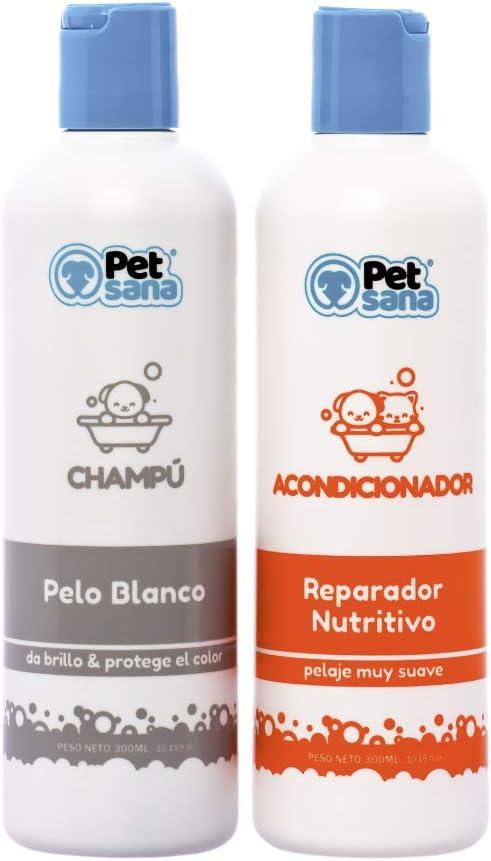 Pack Champu Perro Pelo Blanco + Acondicionador suavizante intensificador de Color Brillo Espectacular para Razas como Caniche, West Highland Terrier, Sky Terrier para Perros con Tonos claros